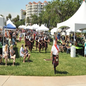 Marchers between tents at Ormond Beach Celtic Festival